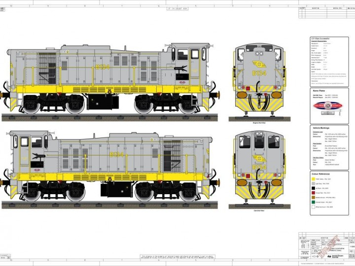 Planned livery for B134 as produced by Irish Rail, Inchicore.