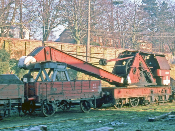 30/1/1978: GNR steam crane 2 as UTA 8434 and runner 8435 at Lisburn yard. (C.P. Friel)