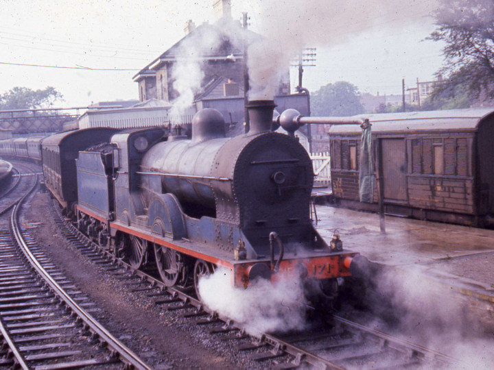 1960s: The locomotive in UTA days at Omagh, recently bought from CIE (see stencil on buffer beam).