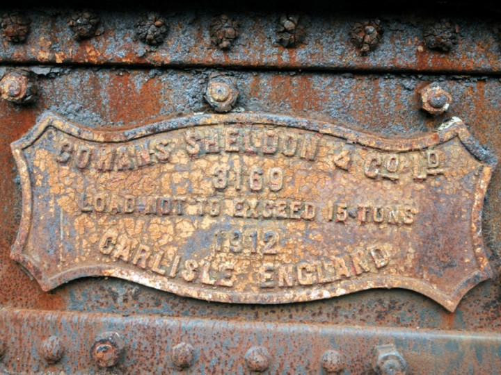 7/11/2012: Large maker's plate on Steam Crane 2. (C.P. Friel)