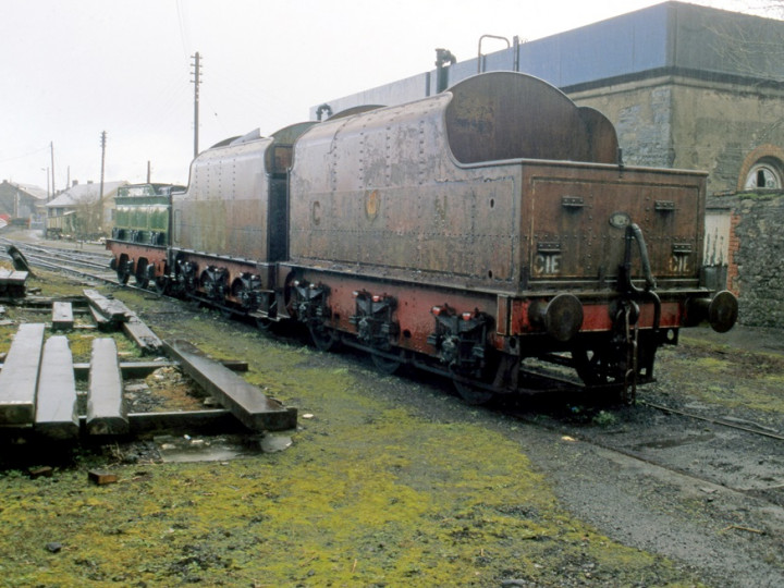 26/3/1988: At Mullingar are GS&WR No.184's tender along with E type tenders 73 and 43 which had now lost the rear vertical handrails. (M.A. McMahon)