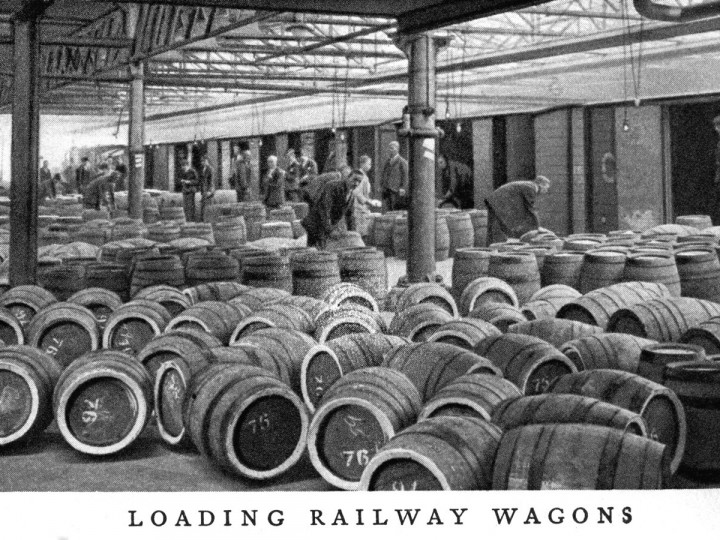1939: Guinness being loaded into GSR vans at the Brewery - from a Guinness guide book.