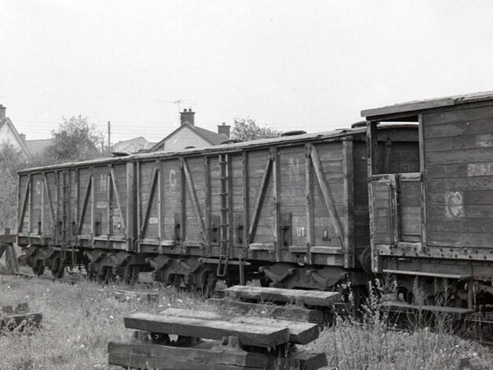11/5/1967: GNR 504 and 2518 with Brake Van 42 out of use at Ballymena. (D. Coakham)