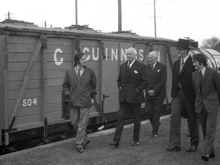 27/4/1972: 504 alongside our Patron Lord O'Neill with the Governor Lord Grey, Chairman Bob Edwards and Secretary John Lockett at Whitehead. (C.P. Friel)