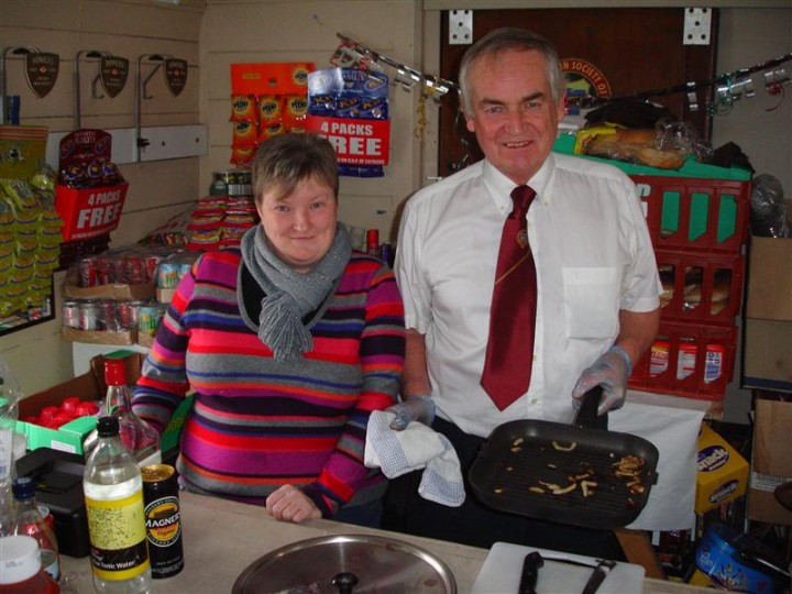 Katherine and Peter behind the counter of the temporary shop/cafe/bar in 460's van on a Mince Pie run to Dublin on 30/12/2007.