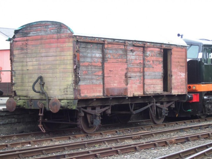 On 20th June 2010 the brown van is shunted to the front of the yard to go off for restoration. (M.Walsh)