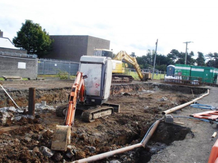 22/9/2012: Work on the station foundations has started on the platform. (P. McCann)