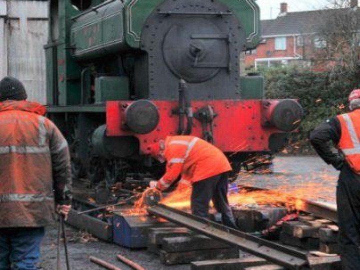 The homecoming - No.3 being persuaded off a low-loader at Whitehead on 25th November 2012. (C.P.Friel)