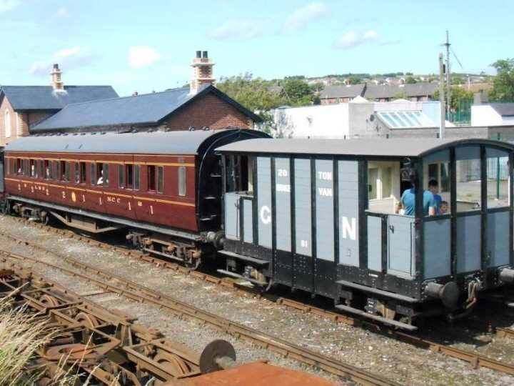 Whitehead Community Festival train rides on 3rd August 2013, in the company of No.186 and brake van 'Ivan'. (M.Walsh)