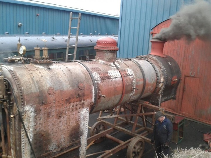 No.131's boiler was fired for the first time in over 50 years when on 14th December 2014 it had it's first successful steam test following overhaul. (P.McCann)