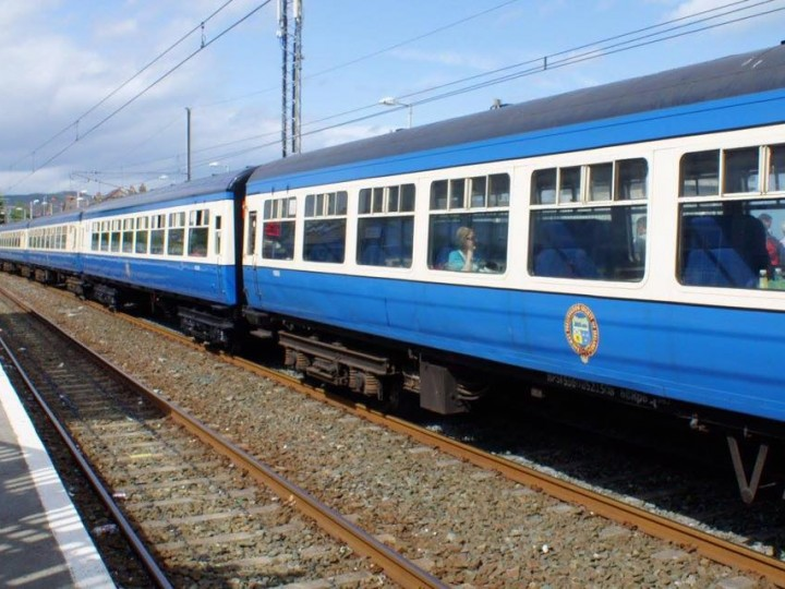 A full line-up of Cravens in the blue & cream livery, Greystones, 7/8/2016. (K.Finger)