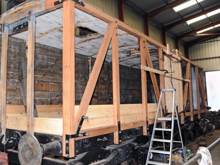 4/9/2019: 504's new body takes shape in the Dunleath Workshop. (C.P. Friel)