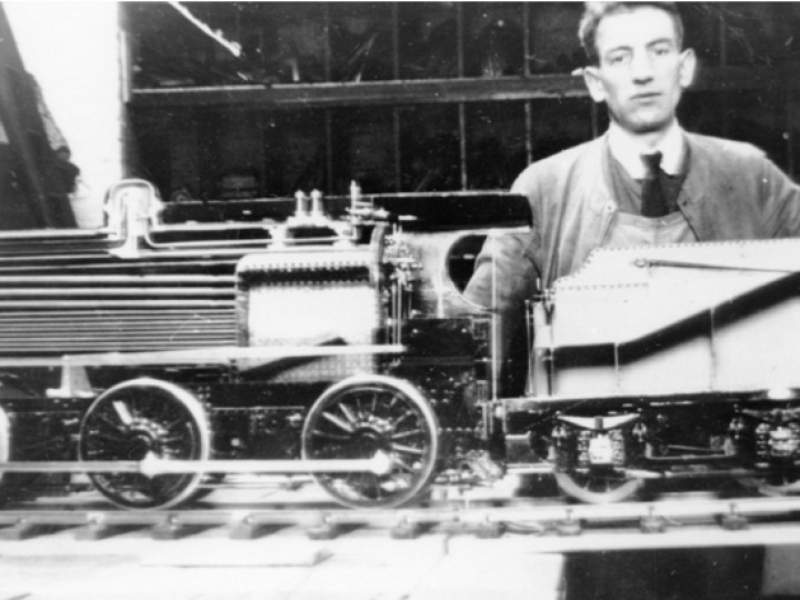 The SG3 model with its maker Jimmy Webster, in the upper level of the tool room at the Fitting Shop in Dundalk. (P.Mallon collection)