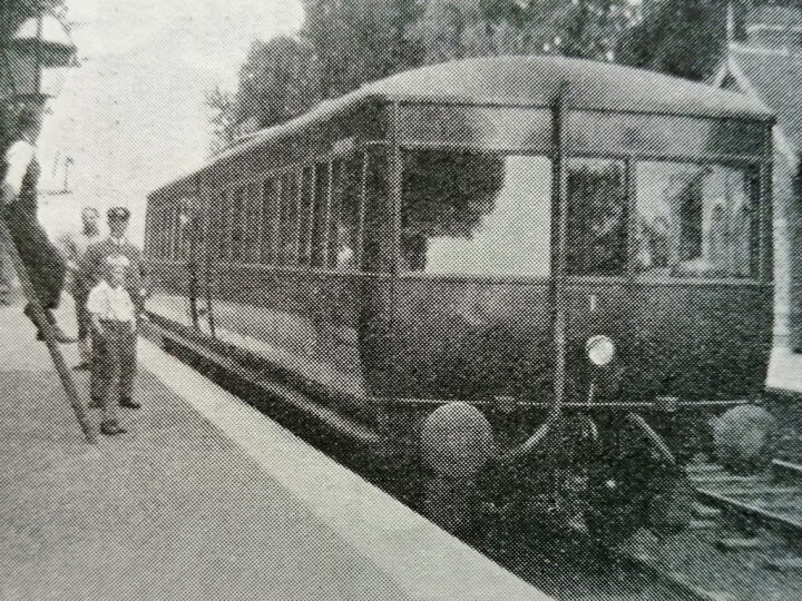 1933: The railcar on the Up road at Kilroot, with the signal off for Belfast. A number of early railcar services turned back here. The station is long closed and the area dominated by Kilroot power station. (W. Robb, Railway Magazine October 1933)