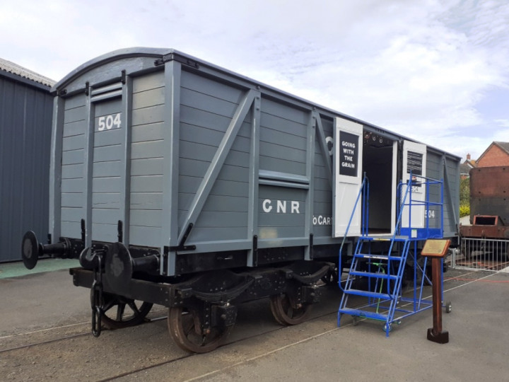 25/9/2021: On the day of its public launch at Whitehead, the van is posed for display beside the turntable.