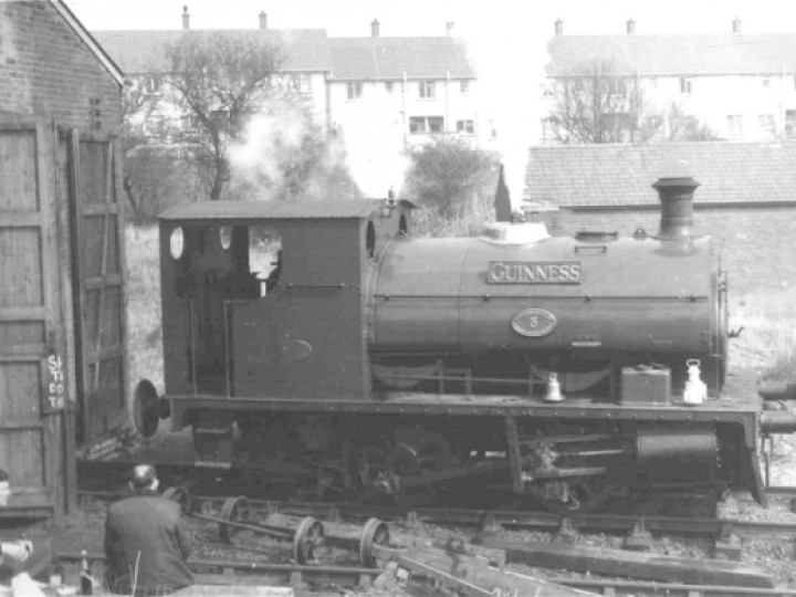 No.3BG 'Guinness' outside the RPSI's Whitehead depot in the 1970s. Railtour Organiser Craig Robb on the left and Chairman Roy Grayson on the right. (J.Lockett)