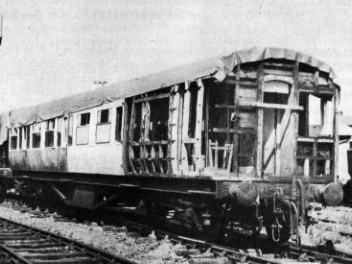 GNR(I) third 9, shortly after restoration commenced in 1983. Some of the new vertical ribs can be seen, as can some of the rotten structure awaiting replacement. (C.P. Friel)