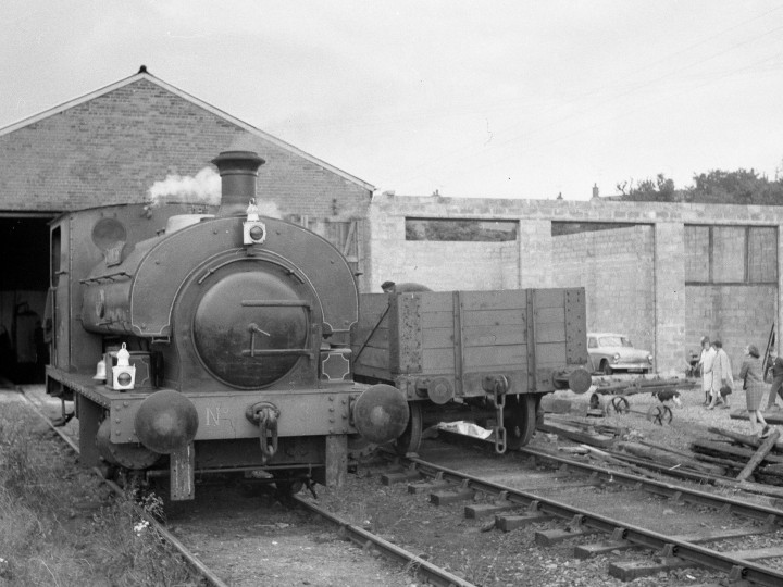 The Steam Gala on 3rd  July 1971 at Whitehead, with the first extension to the original locomotive shed under construction. (Courtesy D. Carse)