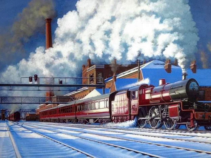 A painting of a mogul leaving York Road. This locomotive has the later Stanier tender. (David Briggs)