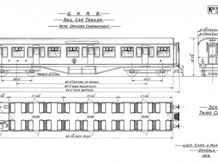 Dundalk drawing for K31 Driving Trailers 8 and 9 built in 1954.