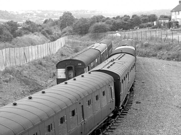 July 1977: New carriage sidings at Whitehead, with N586 next the Larne line. (C.P. Friel)