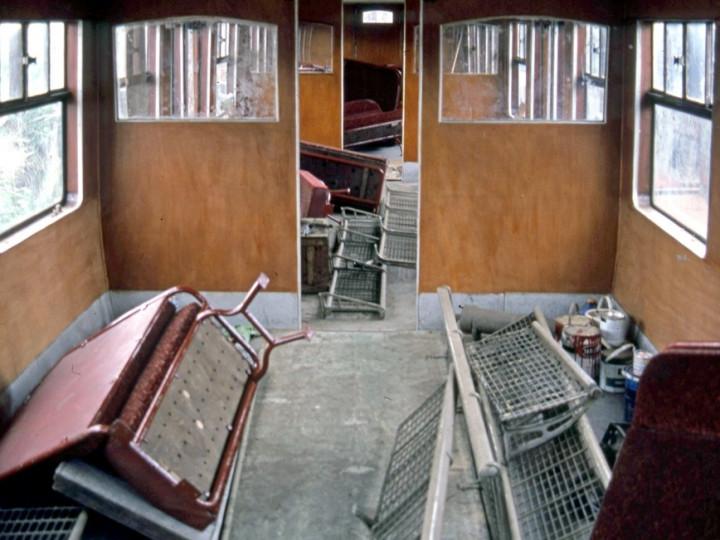 4/6/1986: GN 9 passenger interior under restoration. (C.P. Friel)