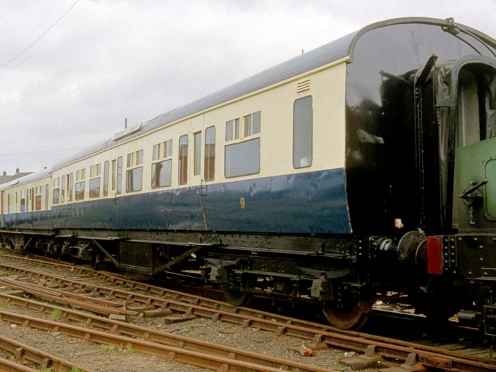 17/4/1993: GNR 9 and 114 in new blue and cream at Whitehead. (C.P. Friel)