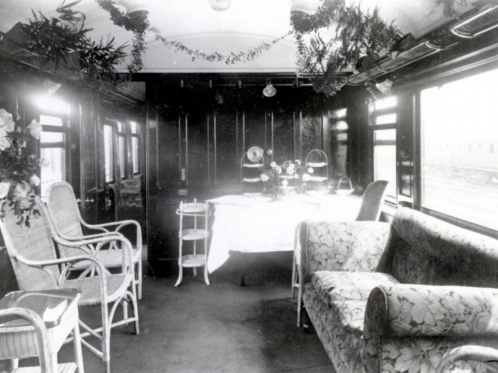 The saloon decorated for a special occasion, date unknown. (Duffner R501)