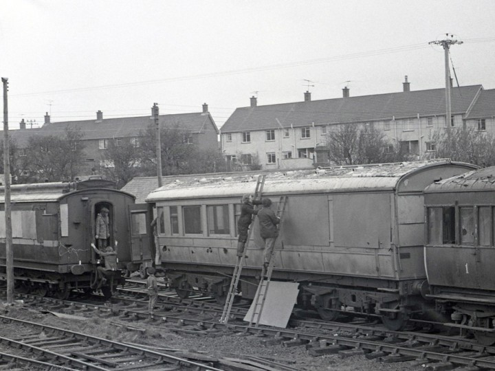 Carriages 861 and 50 at Whitehead, 7/4/1973. NCC Railcar 1 is visible to the right. (C.P.Friel)