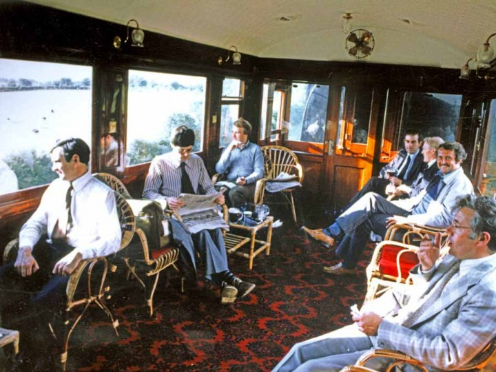 Thought to be an outing on the GNR main line, date unknown, a number of well-known (and thinner) RPSI faces enjoy the comfort of the saloon. (V. Corrie)