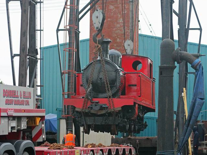28/1/2019: The gantries are used to load CDR No.4 'Meenglas' for return to the Foyle Valley Museum after a cosmetic overhaul at Whitehead. (J.A. Cassells)