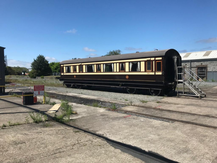 15/7/2021: The carriage enjoying a bit of unexpected sunshine at Inchicore. (P. Rigney)