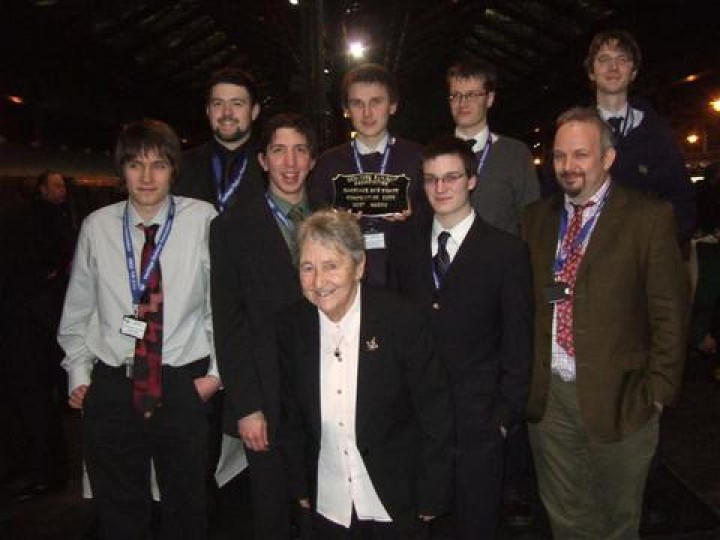 Members of the 'Youth Team' who travelled to York to pick up the HRA 2009 Carriage & Wagon Award for work on GNR(I) brake van No.81 'Ivan'.
