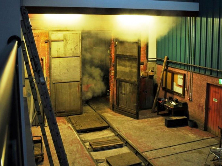 19/11/2017: The inside of the shed at night, with No.131 in steam outside for a test run, (C.P. Friel)